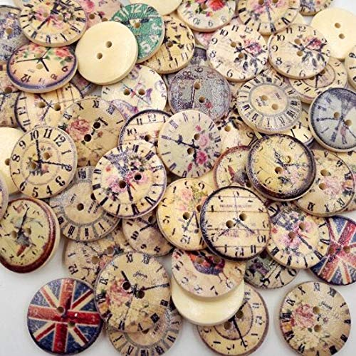 DNHCLL 50 PCS 20MM 2-Hole New Vintage Style Popular Mixed Craft Round Wooden Clock Buttons Sewing Accessories Decorative Buttons,Used for DIY Craft and Sewing Scrapbooking