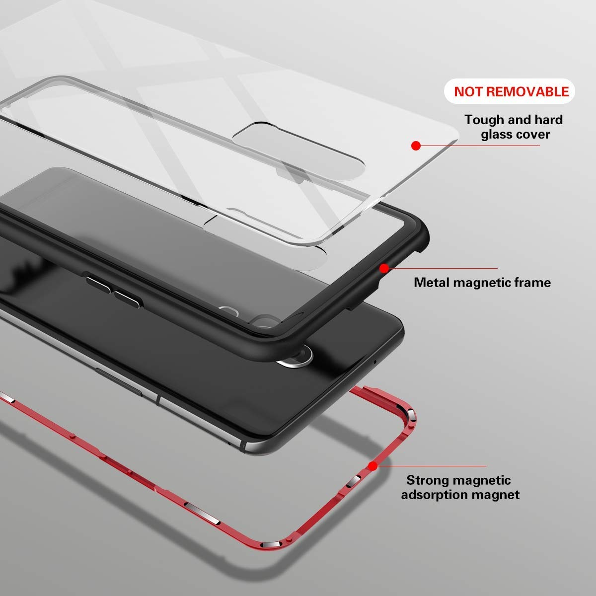 Gypsophilaa Magnetic Case for OnePlus 5,Clear Tempered Glass Back Cover Support Wireless Charge 360/°Full Protection Ultra Slim Case Magnets Metal Bumper Frame