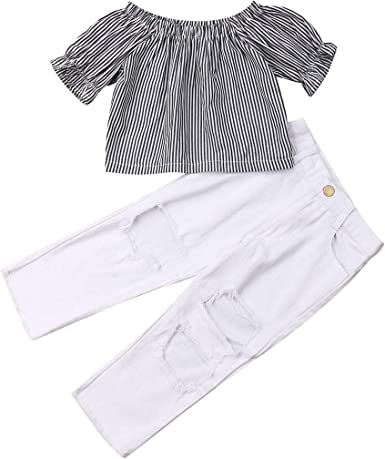 Kids Little Girls Ruffle Striped Tops Tshirt Ripped Jeans Pants Outfit Clothes Set