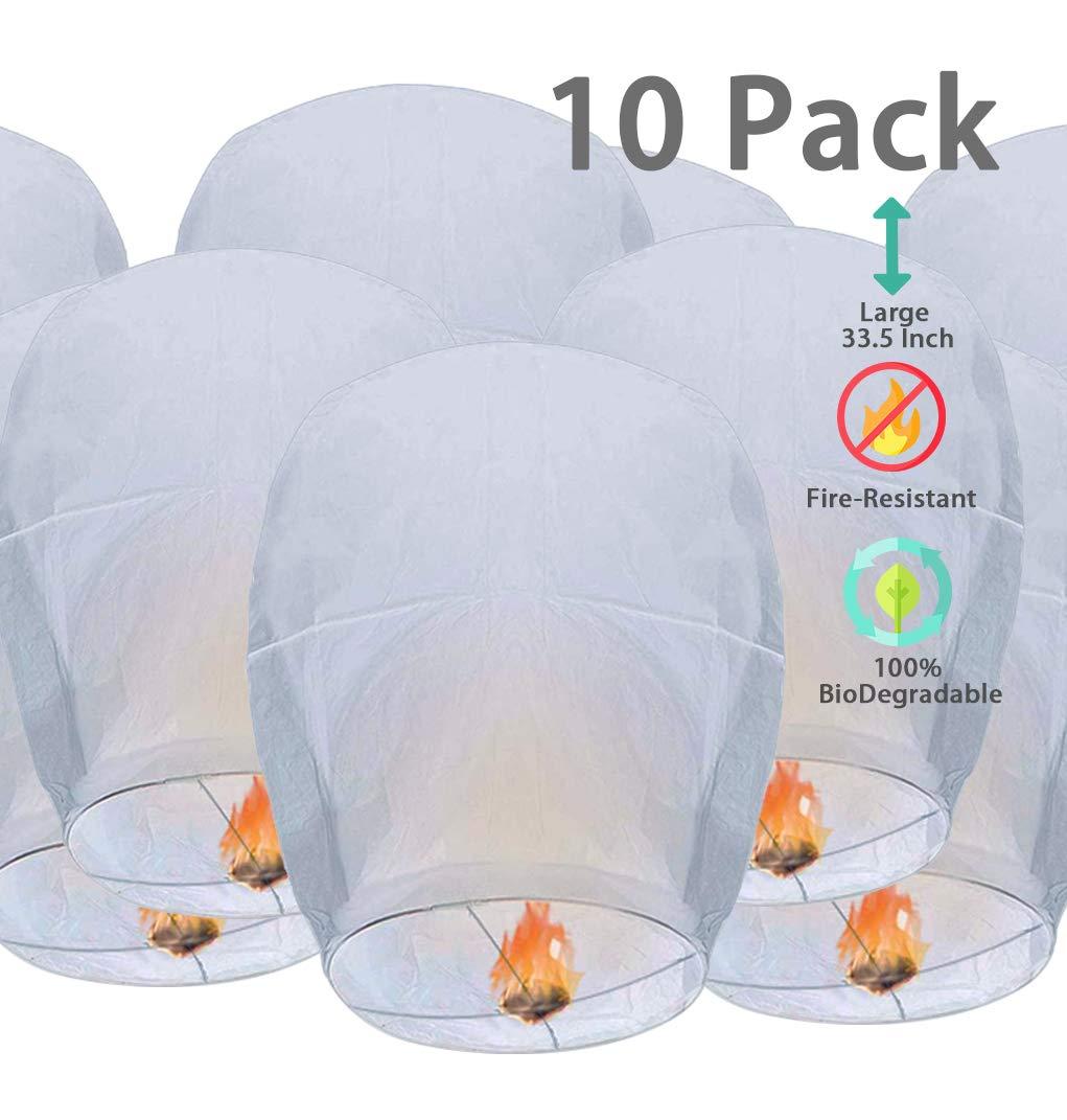 OOKU Large 34'' Chinese Sky Lanterns 10 Pack White 100% Biodegradable Lanterns | Japanese/Chinese Lanterns for Weddings, Celebrations, Ceremonies | EcoFriendly White Lanterns | Wishing Lanterns by OOKU