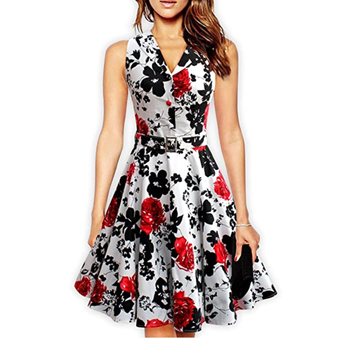 Las Mujeres de 50s 60s Retro Vintage Dress Rose Estampados Florales Vestidos Femeninos Swing Rockabilly Parte