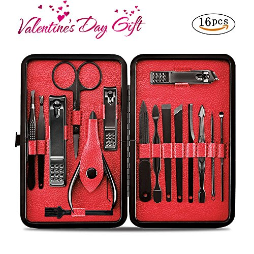 Manicure Pedicure Set Nail Clippers - Aooeou 16 In 1 Mens Stainless Steel Professional Pedicure Kit Nail Scissors Grooming Kit with Black Leather Travel Case Tools (16pcs Manicure Set)