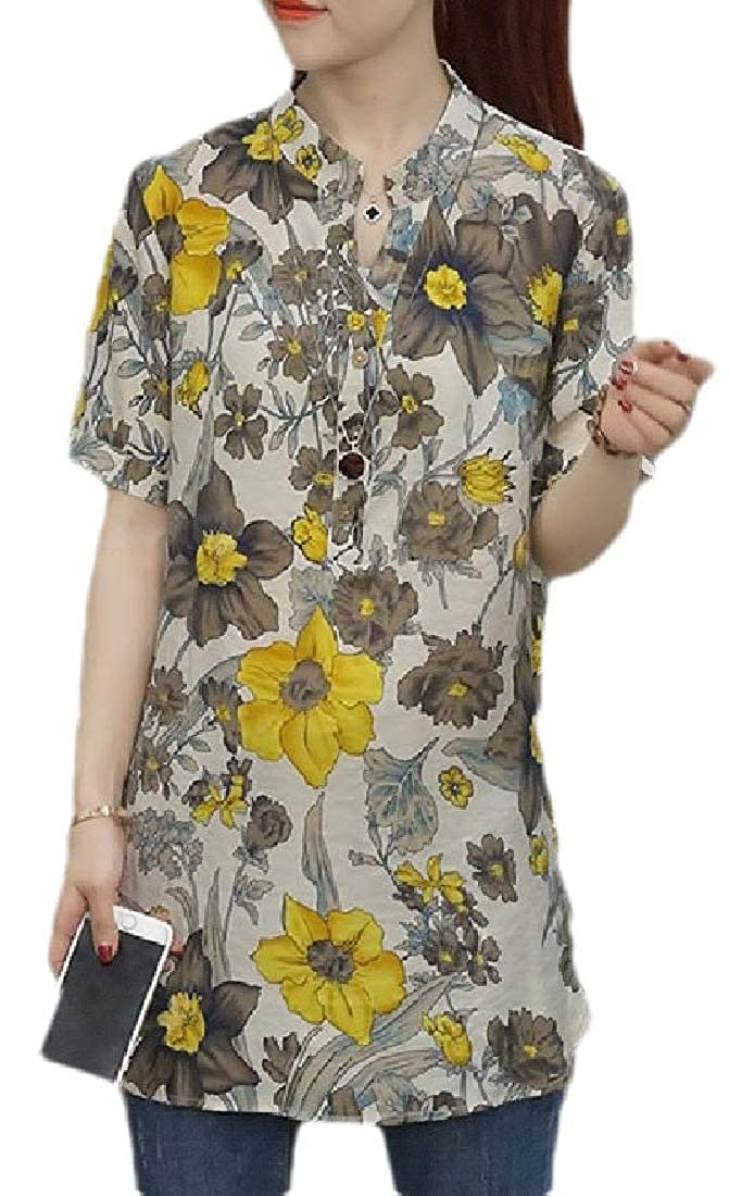 CBTLVSN Womens Linen Tunic Shirts Casual Button Up Floral Tee T-Shirt