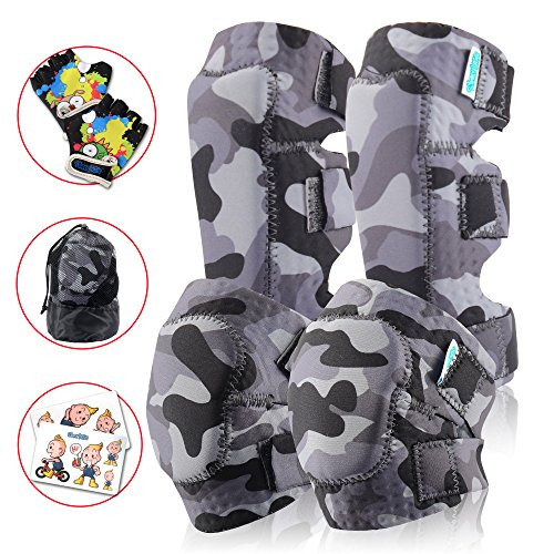 - Innovative Soft Kids Knee And Elbow Pads Plus Bike Gloves | Toddler Protective Gear Set | Comfortable Breathable Safe | Roller-Skate, Skateboard, Rollerblade For Children Boy And Girl(Snow Land Camo)
