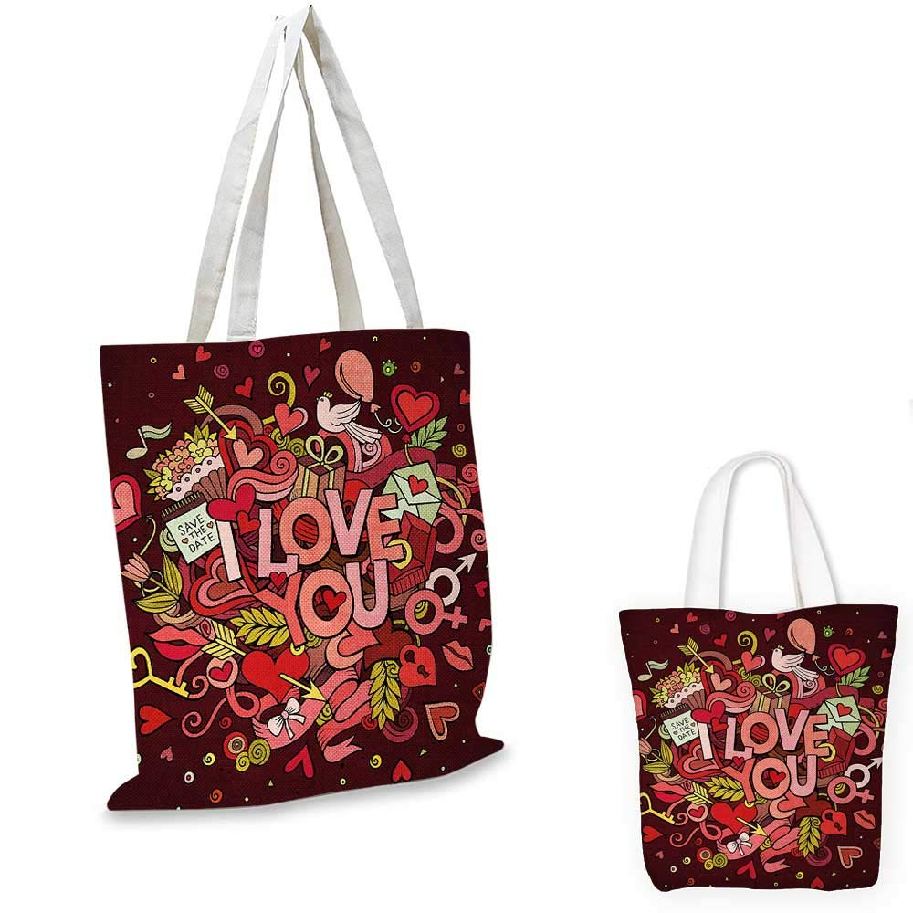 Romantic canvas messenger bag Retro Funky I Love You Quote on Hearts Arrows Baloons Birhday Image canvas beach bag Coral Burgundy Yellow 12x15-10