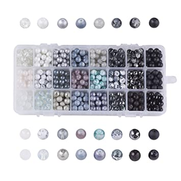 30Pcs//set 8mm Double Color Glass Pearl Round Spacer Loose Beads Jewelry Making