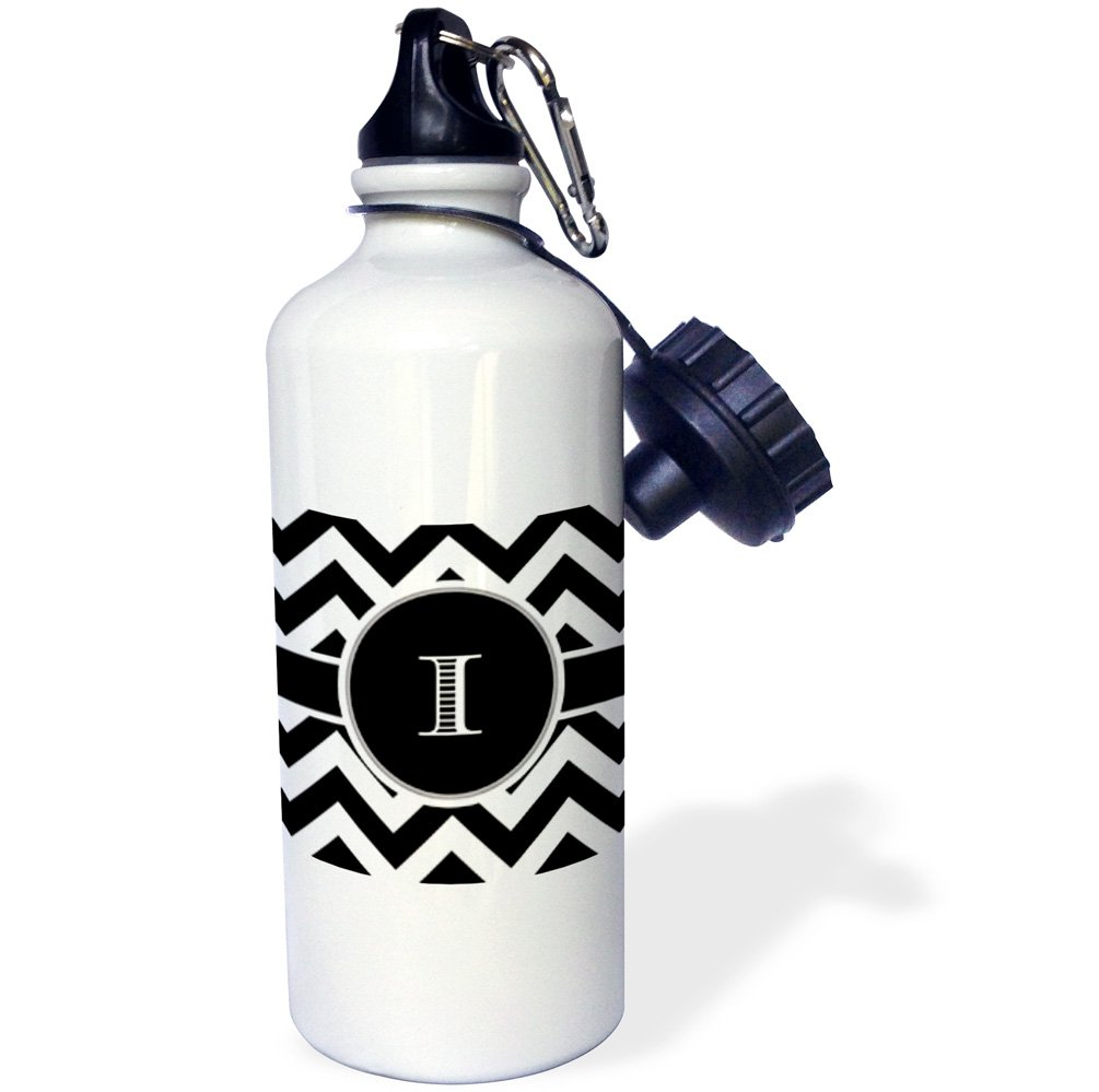 3dRose wb/_222072/_1 Black and White Chevron Monogram Initial J Sports Water Bottle 21 oz White