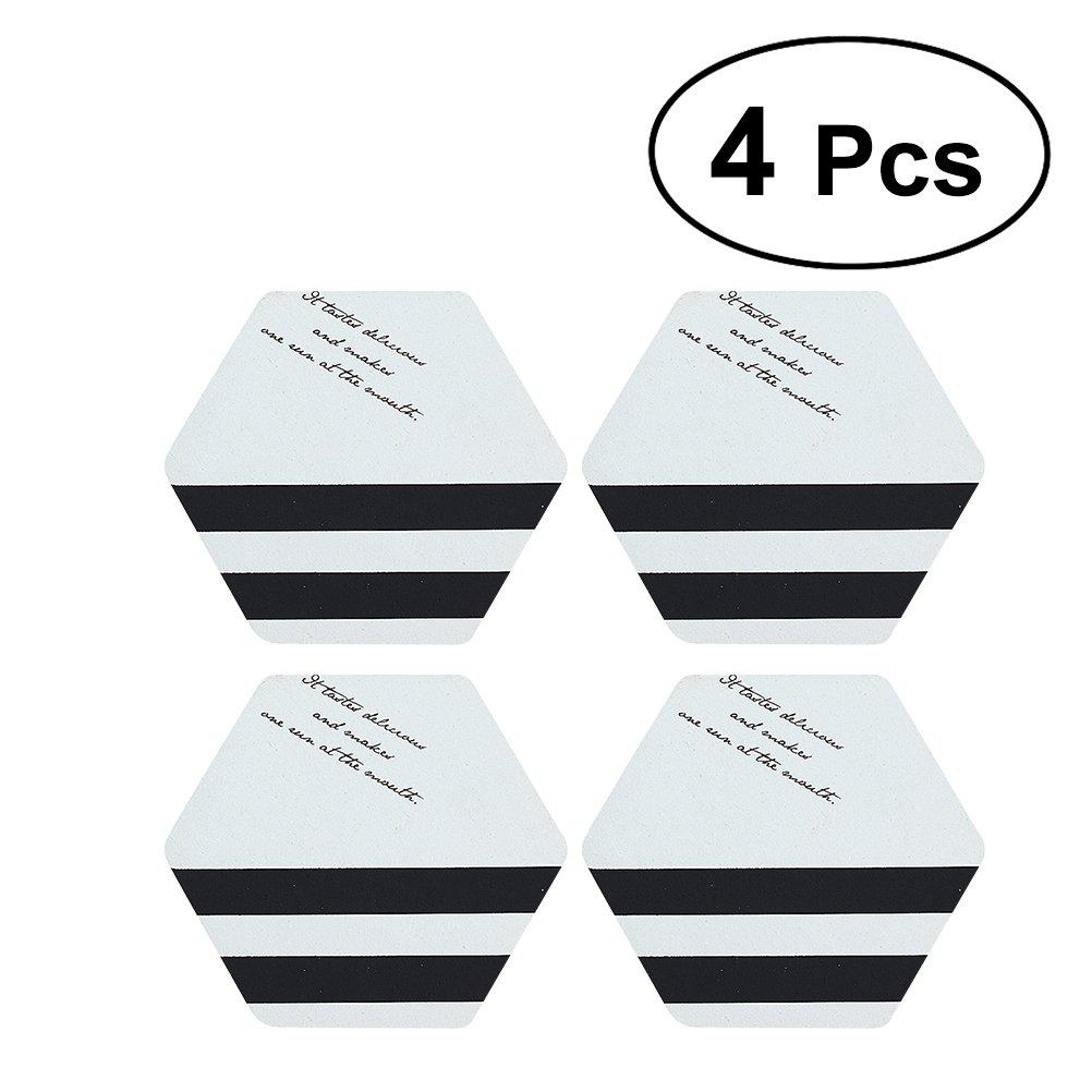 4Pcs Creative Hexagonal Place Mats Nordic Style Potholders Insulation Mats Pads Home Decor (Text Stripe Pieces)