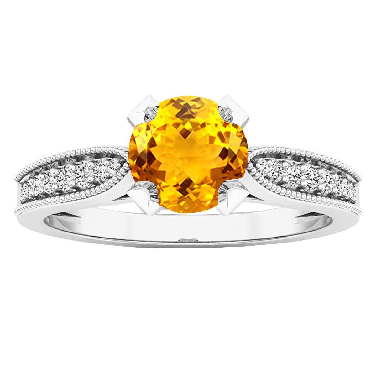 Dazzlingrock Collection 6 MM Round Gemstone /& Diamond Ladies Bridal Engagement Ring Sterling Silver