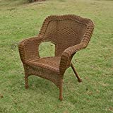 International Caravan 3180 2CH MO IC Furniture Piece Camelback Resin Wicker Patio  Chairs (Set Of 2)