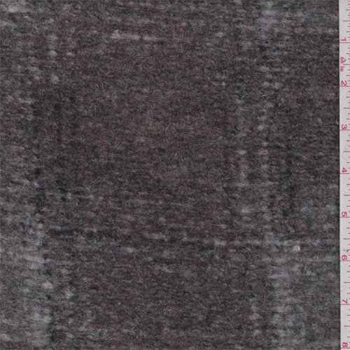 Maroon/Grey Plaid Boiled Wool Knit, Fabric by The Yard -
