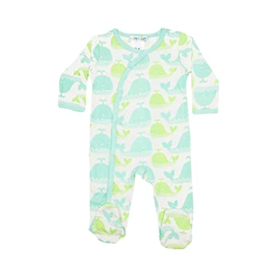 Carley Barley for Girls Or Boys Baby Organic Green Whale Footed Pajama Sleeper Size 0-3 Months