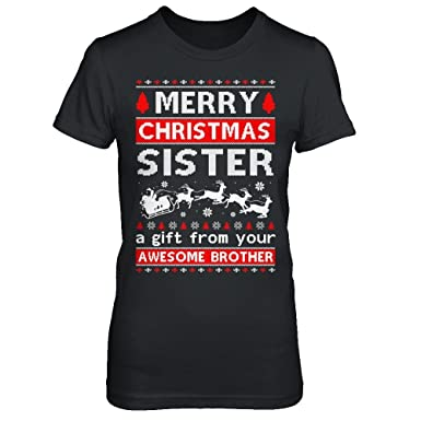 centurytee womens merry christmas sister a gift from your brother sweater shirt gildan ladies