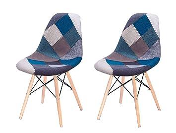 Chaises Patchwork 2 Lot Et Bleu Style Scandinave Tissu Meubletmoi Pieds HêtreConfort Robustesse Bois Retro En De lTJc5KuF13