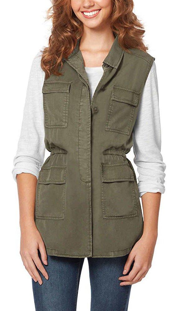 Buffalo David Bitton Women's Lightweight Vest (L, Army Green)