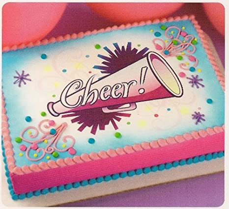 Astonishing 1 4 Sheet Cheer Cheerleader Birthday Edible Cake Cupcake Funny Birthday Cards Online Alyptdamsfinfo