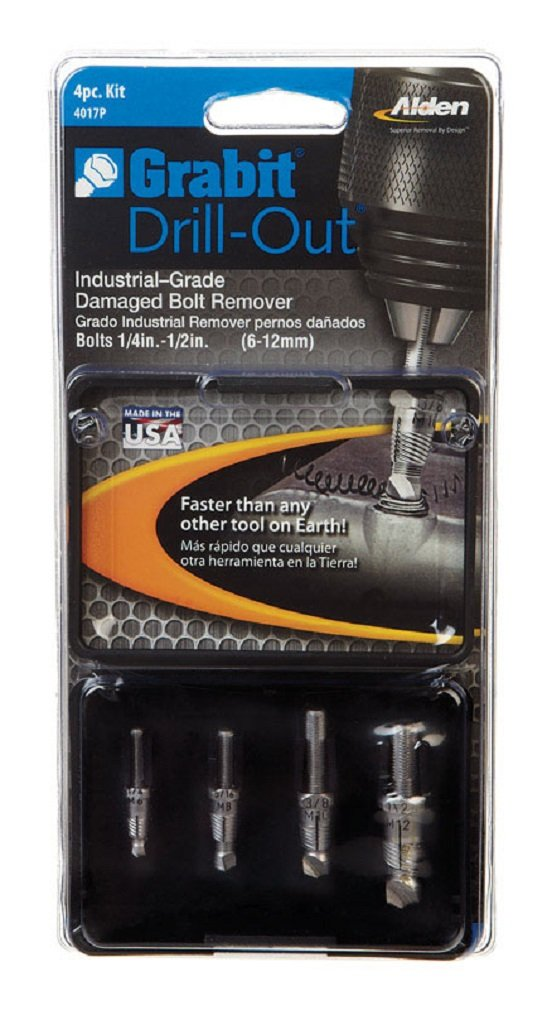 Alden 4017P Grabit Drill-Out Double Ended Bolt Extractor Kit, 4 Piece by Alden