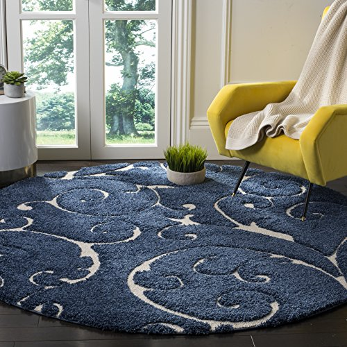 Safavieh Florida Shag Collection SG455-6511 Scrolling Vine Dark Blue and Cream Graceful Swirl Round Area Rug (6'7