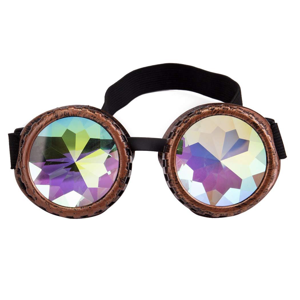 Festivals Kaleidoscope Rave Glasses Crystal Prism Sunglasses Steampunk Goggles OL@MG031B-CN-WMZ