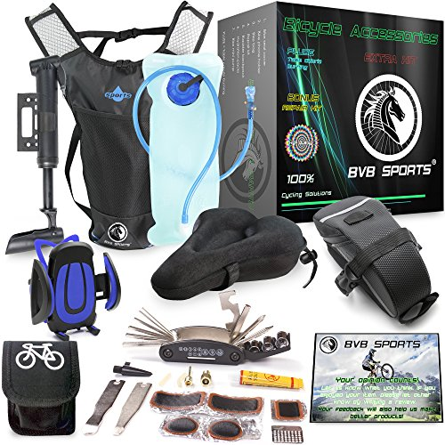 Cycling equipment for Bike accessories set : Bicycle Phone Handlebar Mount ( iPhone, Samsung, Etc.), Water Backpack, Bicycles Seats Cushion Cover, Under Seat Pouch, Bikes Repair Tool Kit, & Mini Pump