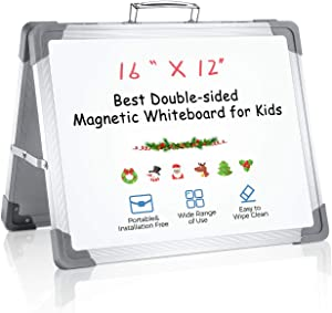 """RIOFLY Small Dry Erase Board - 16"""" x 12"""" Magnetic Double Sided Desktop Whiteboard Portable Easel with Stand & Holder for Kids Drawing Teaching Memo Office Home White"""
