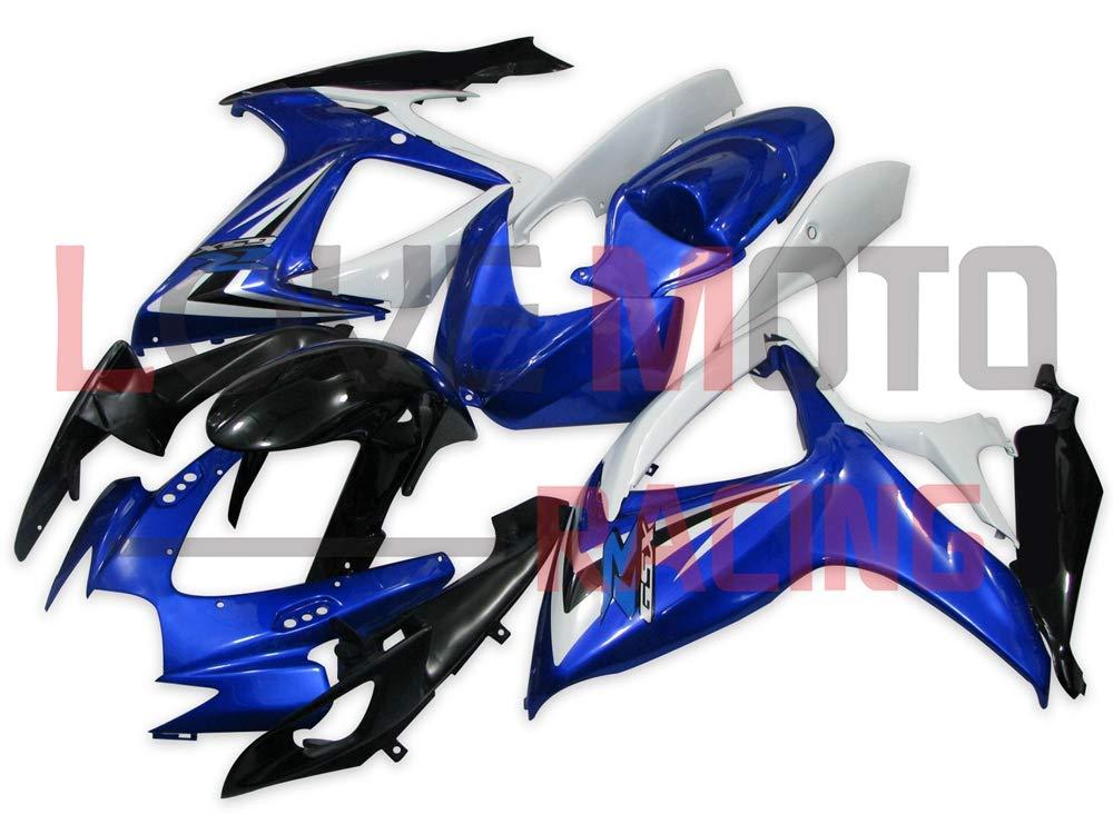 LoveMoto ブルー/イエローフェアリング スズキ suzuki GSX-R600 GSX-R750 K6 2006 2007 06 07 GSXR 600 750 ABS射出成型プラスチックオートバイフェアリングセットのキット ブルー ホワイト   B07KF7LRR1