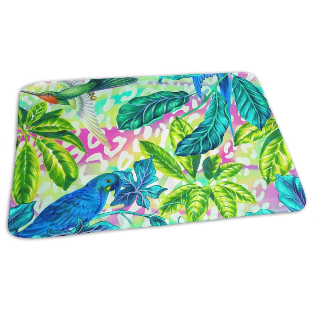 Osvbs Lovely Baby Reusable Waterproof Portable Hummingbirds and Parrots of Tropical Retro Style Changing Pad Home Travel 27.5''x19.7'' by Osvbs