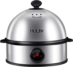 Egg Cooker, HoLife Stainless Steel Egg Boiler Steamer with Auto Shut off, 7 Egg Capacity for Soft, Medium, Hard Boiled Eggs, Omelettes-Silver