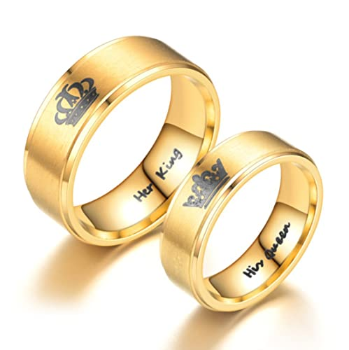 Amazon.com: Su Rey Queen Anillo Oro Tono Acero inoxidable ...