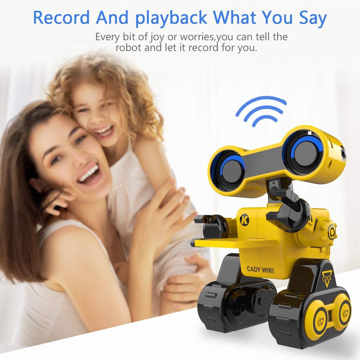 Jouet Robot RC pour Enfants Chant Robot de Commande tactile et Vocale /à distance Fournir des Conf/érences Scientifiques pour les Enfants Jaune Marche Robot Programmable avec Fonction de Danse