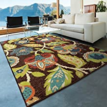 "Orian Rugs Indoor/Outdoor Floral Basil Brown Area Rug (7'8"" x 10'10"")"