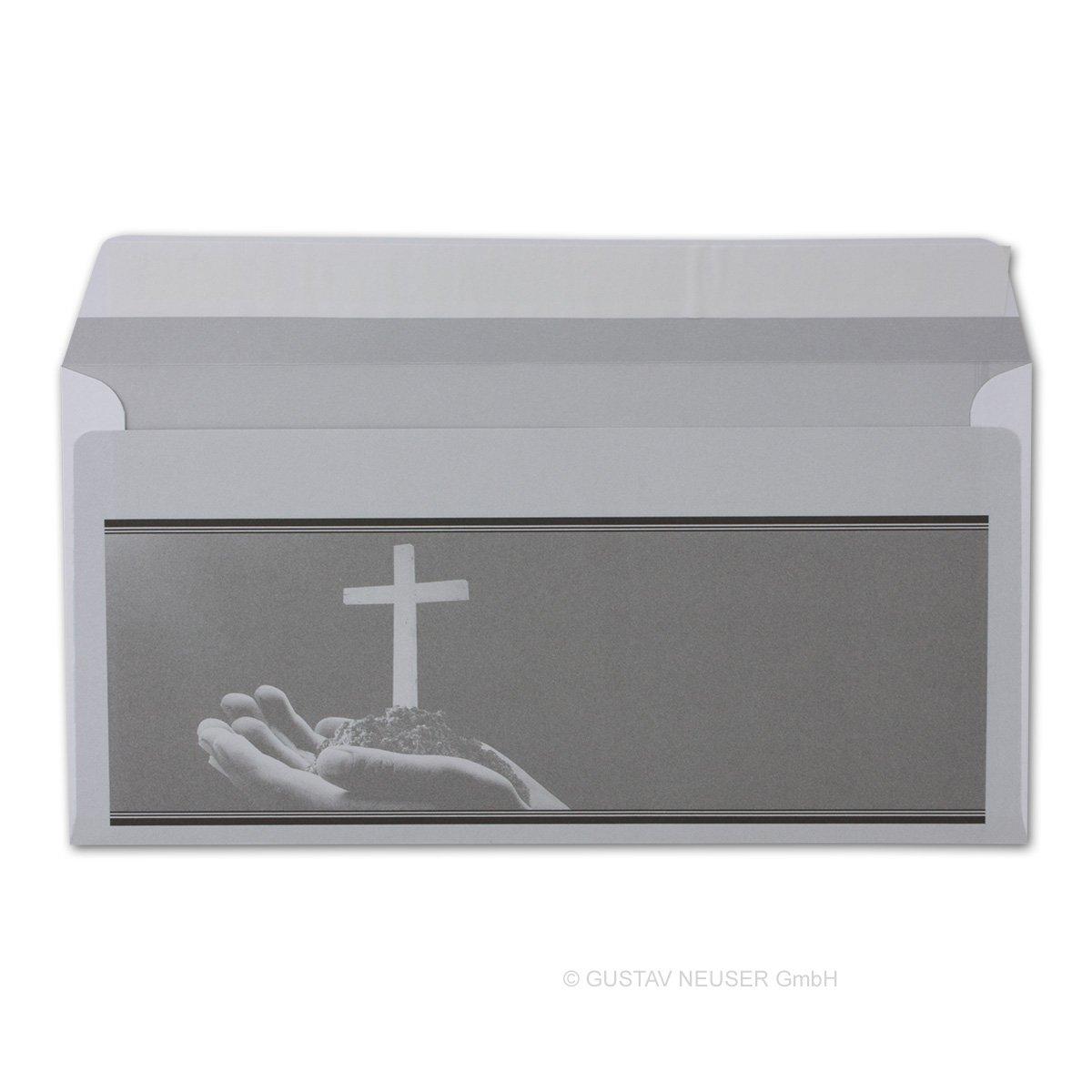 300 Stück Trauerumschlag Serie  Heinrich - - - offene Hände mit Kreuz    Haftklebung    DIN Lang 22 x 11 cm - 90 g m²    Trauerhülle - Briefumschlag B07B9FX4WP | Klein und fein  eecb8a