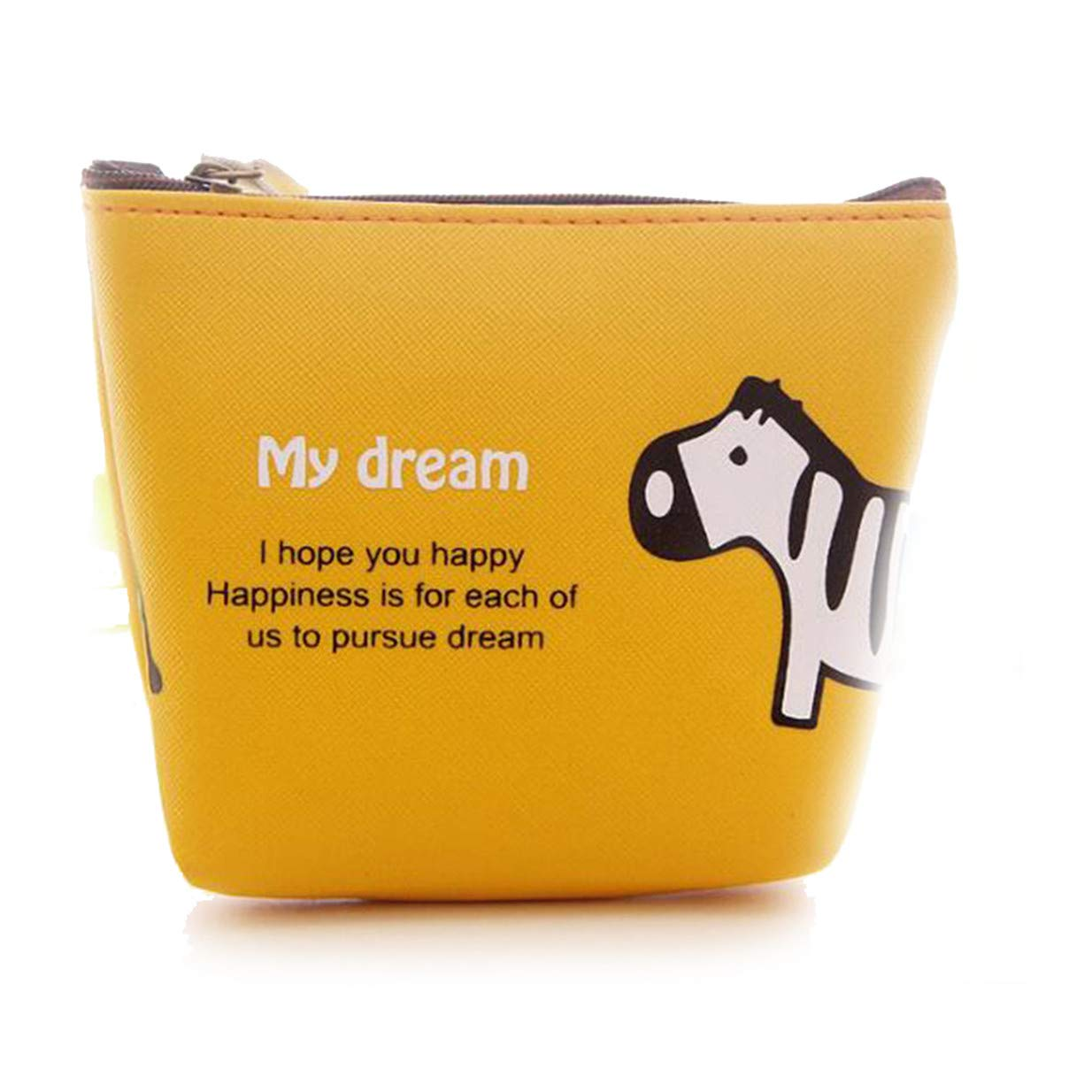 LALANG Cartoon Zebra Elephant Animal Portable Zipper Coin Purse Bag Card Package(Yellow)