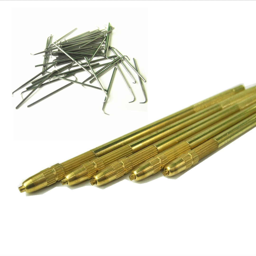 GEX Bronze Lace Wig Ventilating Holder+4PCS Needle Kit (One of Each Size 1-1, 1-2, 2-3 and 3-4)