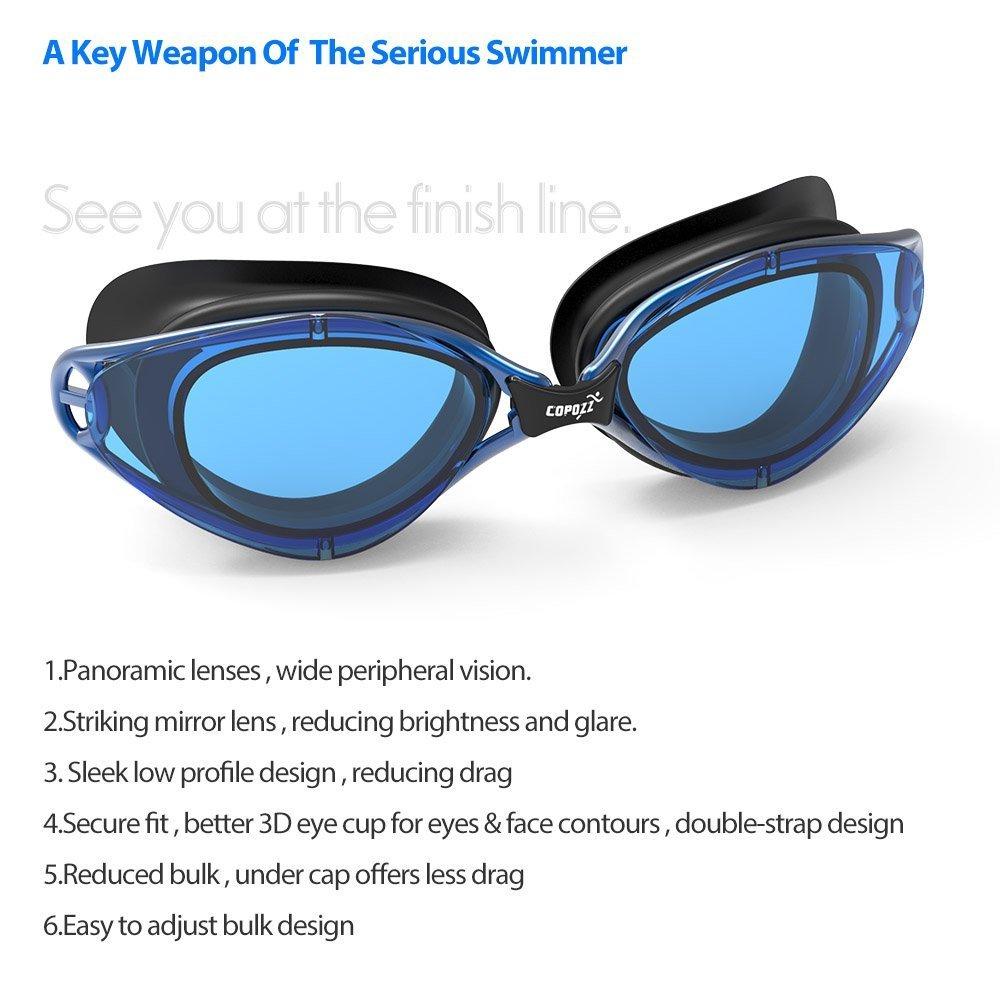 Schwimmbrille, copozz Spiegel, klar Schwimmbrille mit UV-Schutz Anti ...