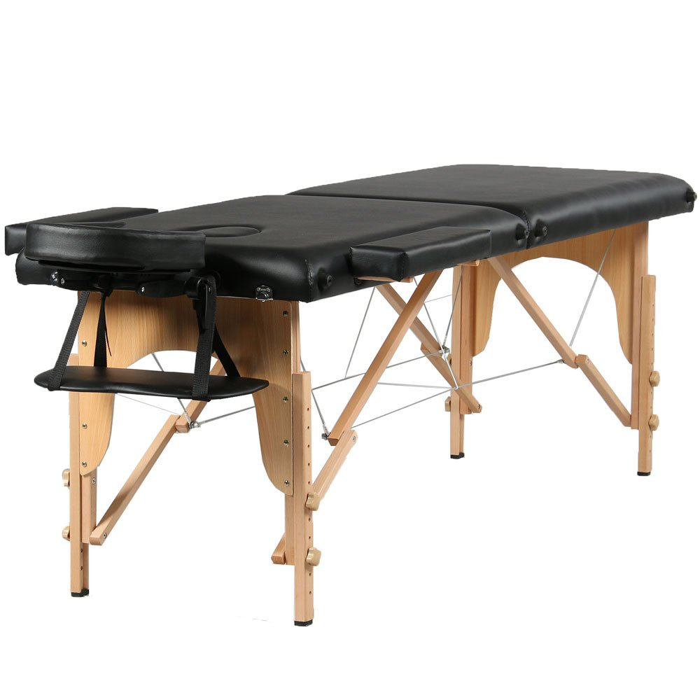 Mefeir 84'' 2 Section Portable Folding Massage Table Package Stationary Salon SPA Tattoo Bed w/Free Carry Case,Beech Leg Adjustable Height Headrest,Black All Inclusive