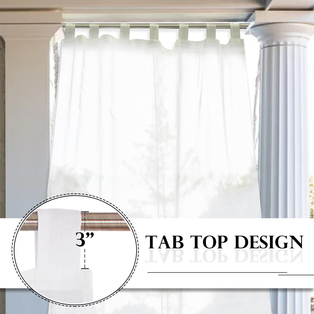 RYB HOME Linen Look Semi Sheer Curtains for Outdoor Patio/Yard, Tab Loop Top Privacy Sheer Curtains, Light Filter Volie for Porch, with 2 Free Ropes, Width 54 x Length 96 Inch, Set of 2 by RYB HOME (Image #4)