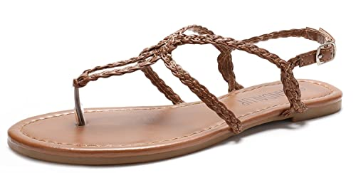 9fab1d8a7d85 SANDALUP Women s Braided Strap Thong Flat Sandals Brown 07