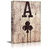 wall26 Poker Cards Canvas Wall Art - Spades Ace - Spades Ace on Wooden Style Background - Gallery Wrap Modern Home Decor | Ready to Hang - 16x24 inches