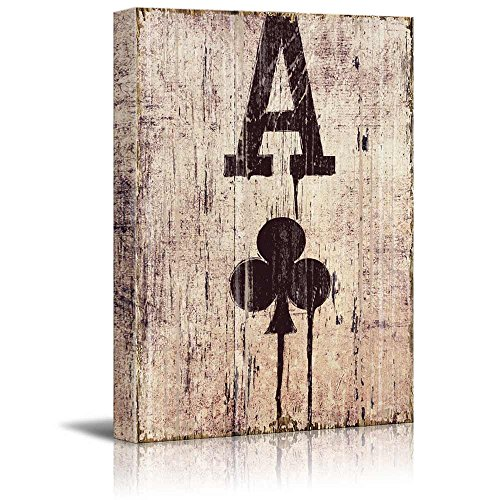 Poker Cards Club Ace Club Ace on Wooden Style Background