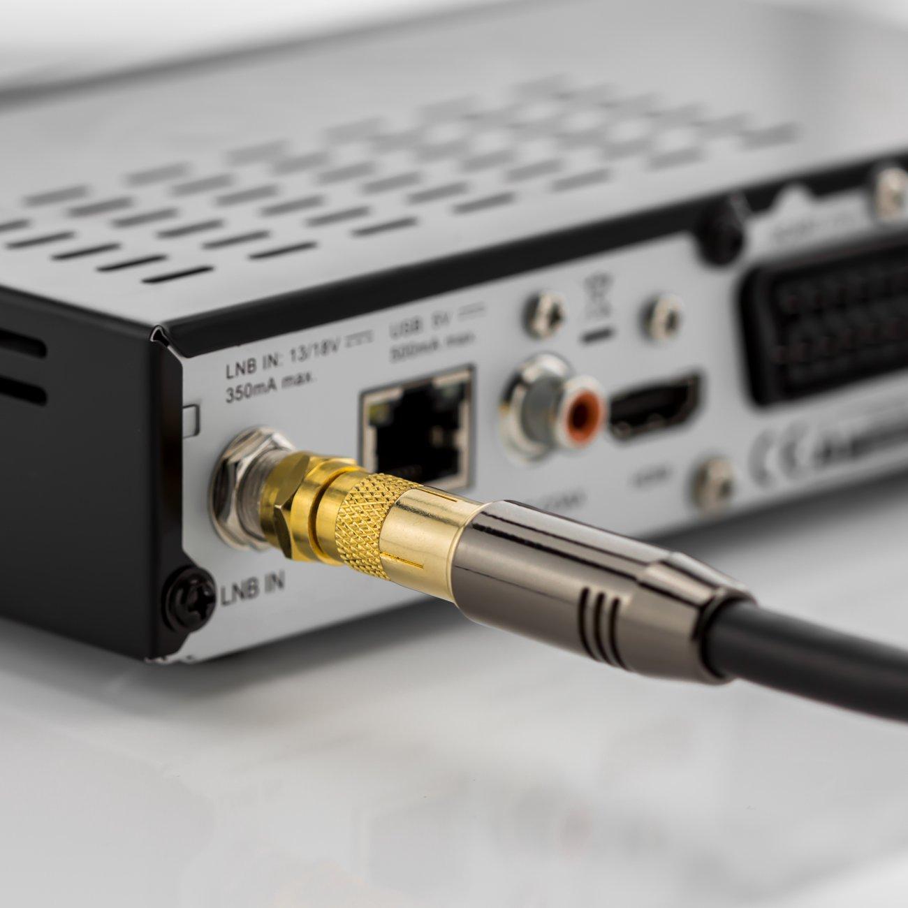 deleyCON SAT Antennenadapter Kabel auf SAT Adapter Set F-Stecker auf IEC-Buchse Kupplung Verbinder Koaxial Adapter SAT Kabel Vergoldet 2 St/ück