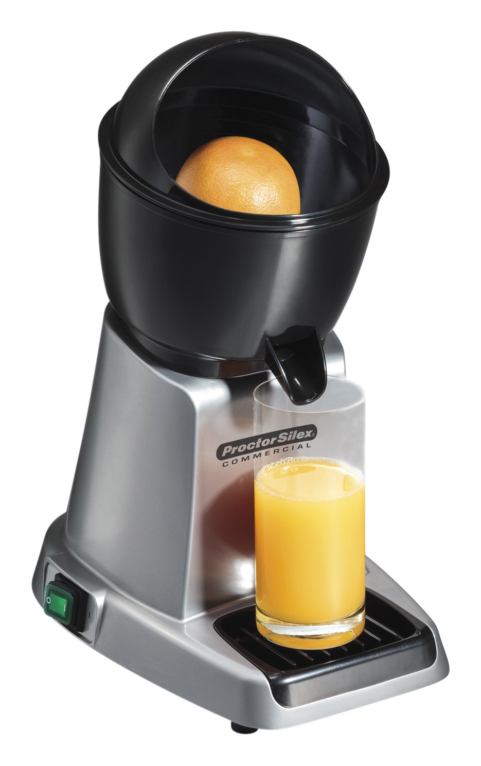 Proctor Silex Commercial 66900 Electric Citrus Juicer, 3 Reamer Sizes for Oranges, Lemons, Limes and Grapefruits, Removable Bowl, Strainer, Splashguard, Drip Tray, Black Grey