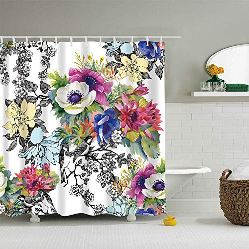 - Shower Curtain with Hook,Elevin(TM) Waterproof Various Pattern & 12 Hooks Bathroom Shower Curtain Multichoice Lot (S)