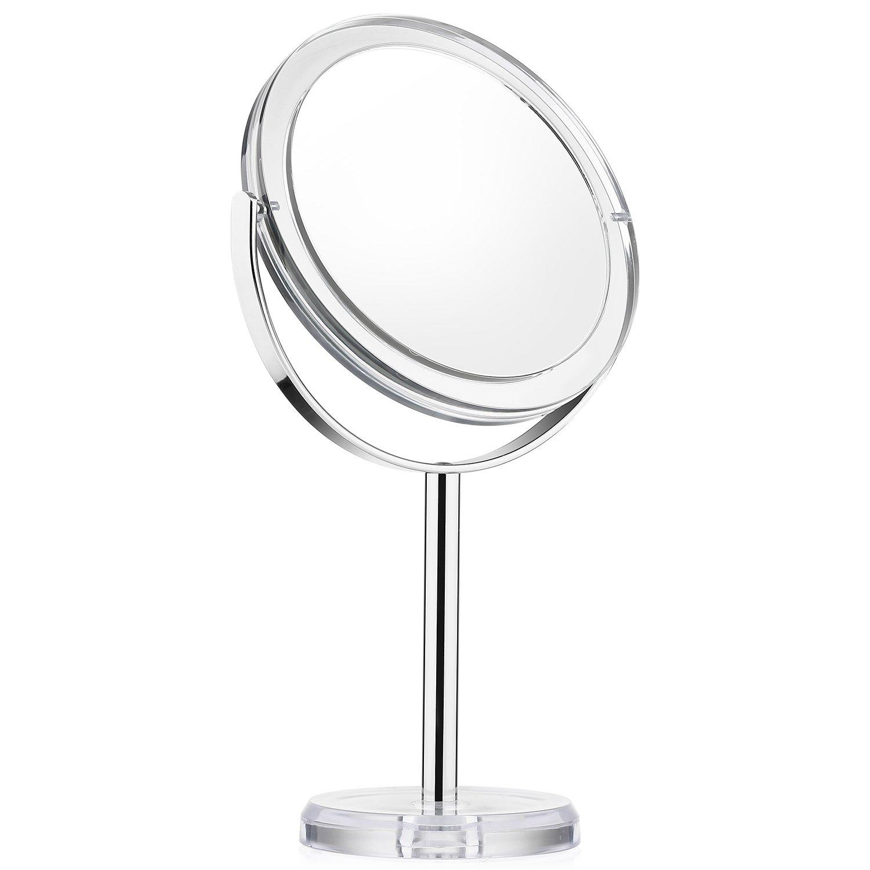 Espejo de Baño, Espejo de Mesa con Doble Cara, Espejo Aumento 1x/7x para Afeitar y Maquillar, Espejo Maquillaje Tocador con Rotación 360 Grados, Estilo Vintage, Beautifive