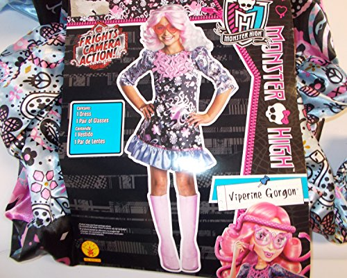 Monster Gorgon Viperine Costume High (Monster High Viperine Gorgon Frights Camera Action Child Costume 10-12)