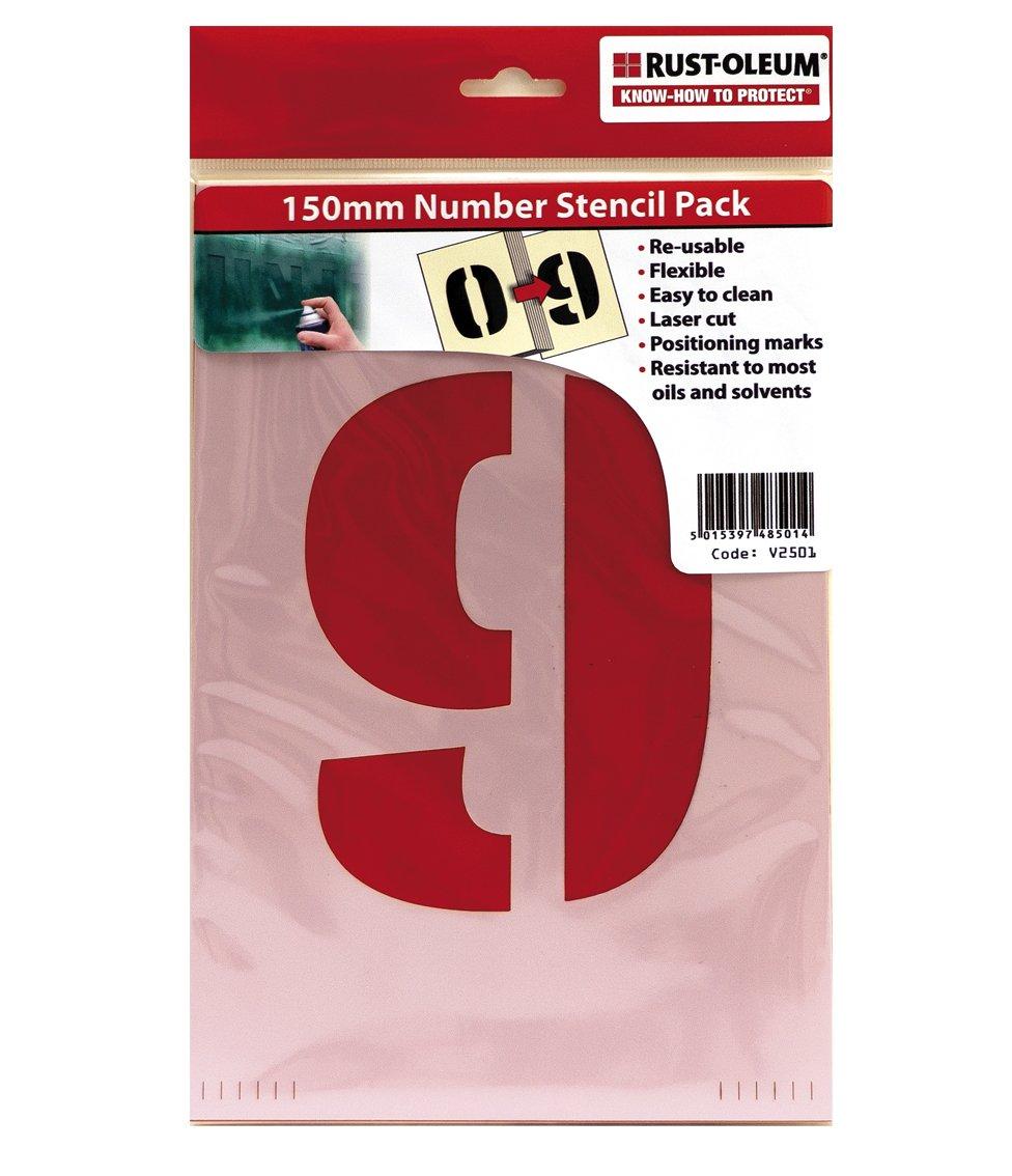 Rust-Oleum V2501 stencil Pack 150 mm 0 –  9, riutilizzabile e durevole, bianco sporco