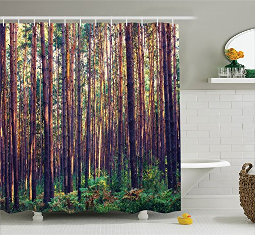 farm house decor shower curtain set by ambesonne forest in the morning light tall trees trunks greenery natural environment picture bathroom accessories