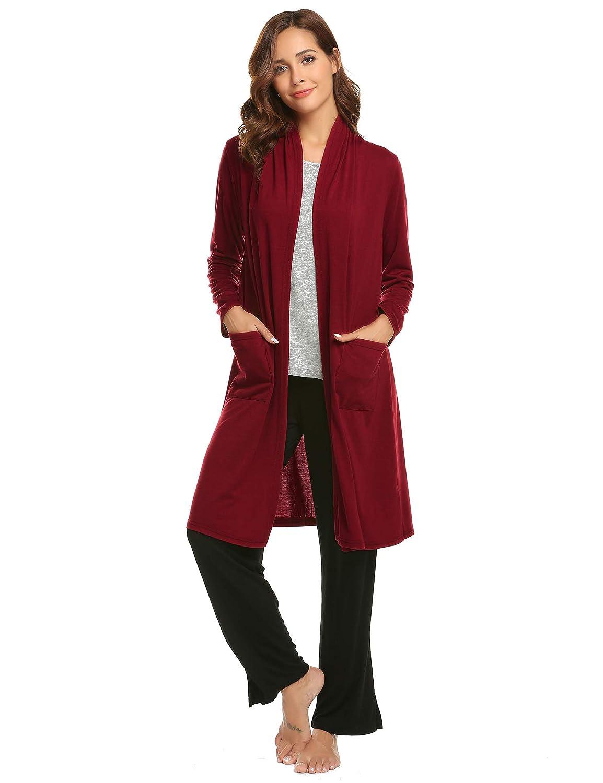 Ekouaer Women's Soft Drape Long Sleeve Pocket Waterfall Lightweight Breathable Long Open Front Cardigans Sweater