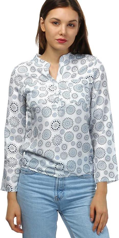 Camisas Mujer,Modaworld Camiseta Estampada de Manga Larga con Cuello en V para Mujer Tallas Grandes Camisetas y Tops Camisa de Vestir Blusas Elegantes señoras: Amazon.es: Deportes y aire libre