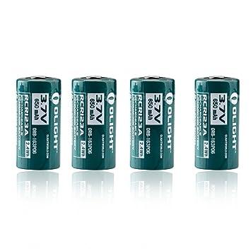 Olight 4 Piles Rechargeables Rcr123a 16340 650mah Batterie Accu